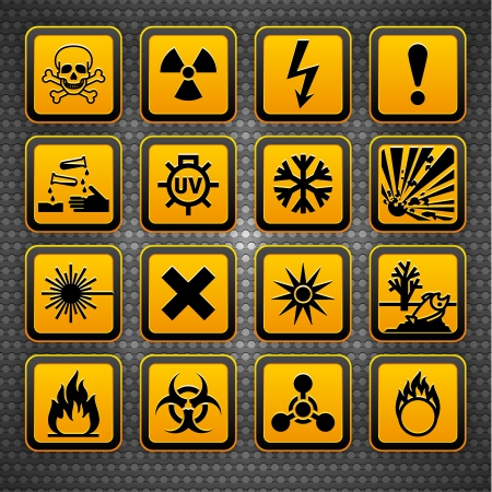 Hazard symbols orange vectors sign, on metal surface photo