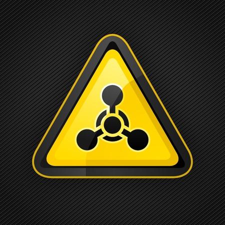 symbole chimique: Détresse triangle de la chimie signe arme sur une surface métallique Illustration