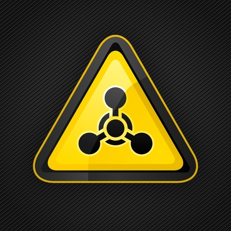 Hazard warning triangle chemical weapon sign on a metal surface Vector
