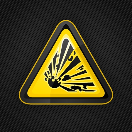 symbol vigilance: Hazard warning triangle explosive sign on a metal surface Illustration