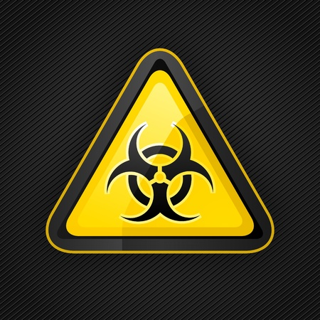 biohazard: Hazard warning triangle biohazard sign on a metal surface