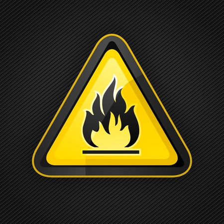 flammable warning: Hazard warning triangle highly flammable warning sign Illustration