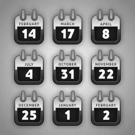 Establecer Iconos del Calendario. Internet y, días de fiesta de botones de