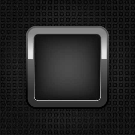 Chrome web button, plastic texture, empty button. Vector