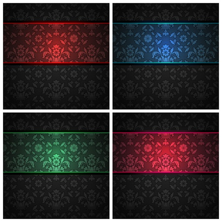 Set ornament template fabric texture - color ribbons.  Vector