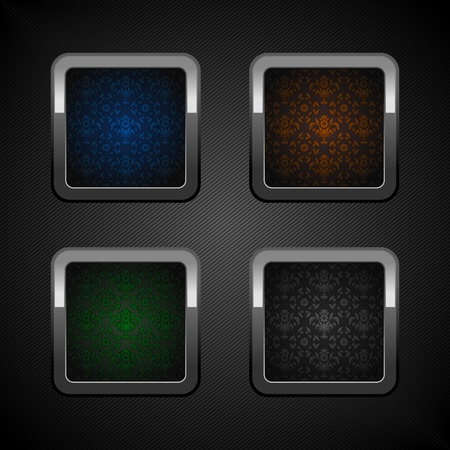 Set chrome web buttons, blank colors ornamental background. Stock Vector - 12357549