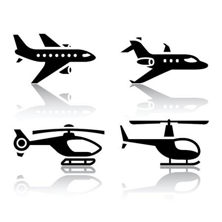 planos electricos: Conjunto de iconos de transporte - Airbus y helic�pteros