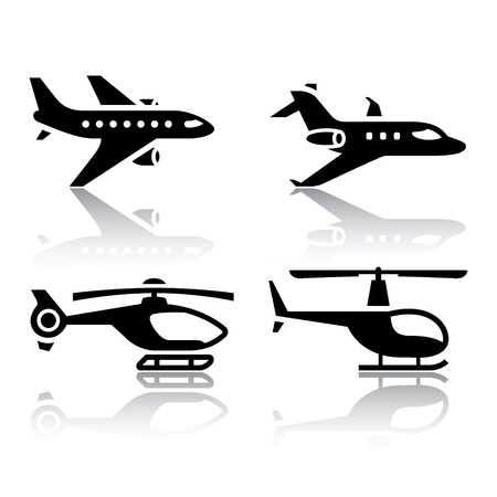 airplane cargo: Set of transport icons - airbus and helicopter