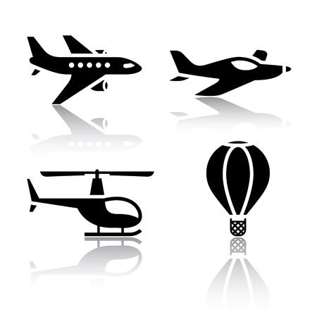 planos electricos: Conjunto de iconos de transporte-aviones