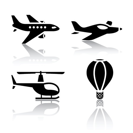 Set of transport icons - aircrafts Vector