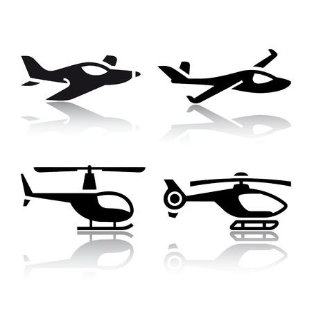 aerei: Set di icone di trasporto - aereo ed elicottero