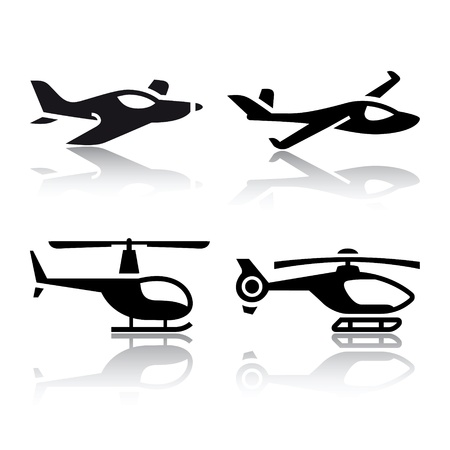 airplane landing: Set of transport icons - airplane and helicopter