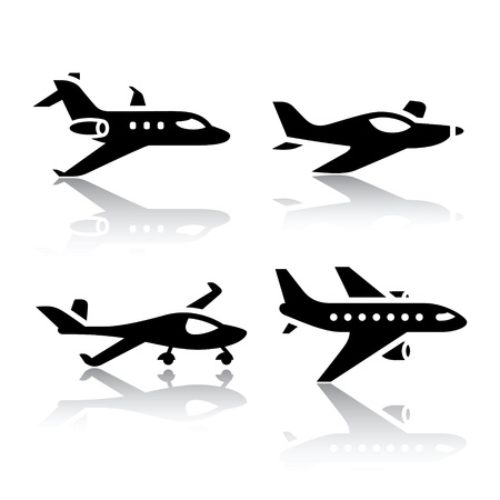 airplane landing: Set of transport icons - airplane Illustration