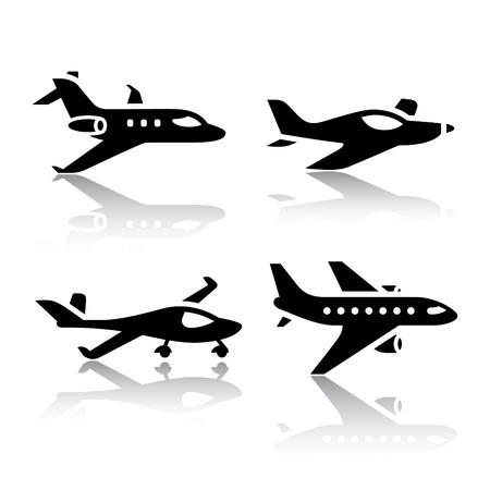 airplane icon: Set of transport icons - airplane Illustration