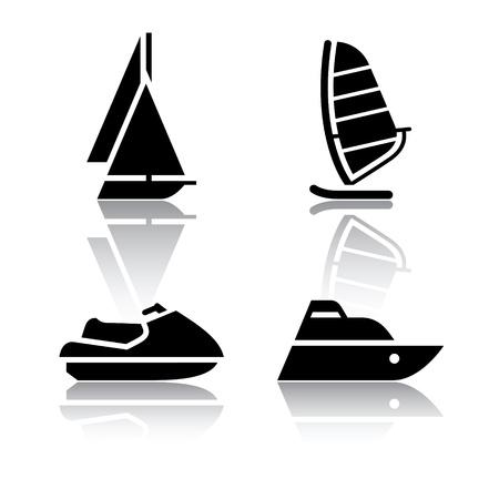 pez vela: Set de iconos, s�mbolos de transporte en barco y el pez vela