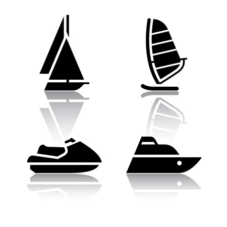 motorboat: Set of transport icons - boat and sailfish symbols
