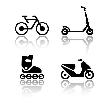 vespa: Conjunto de iconos de transporte - Deportes Extremos Vectores
