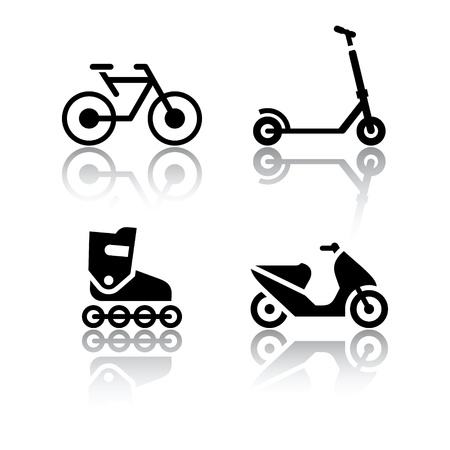 scooter: Set van transport pictogrammen - extreme sporten Stock Illustratie