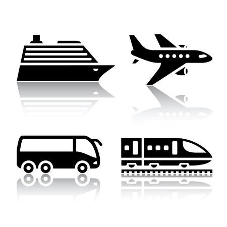 passenger buses: Conjunto de iconos de transporte - transporte turístico Vectores