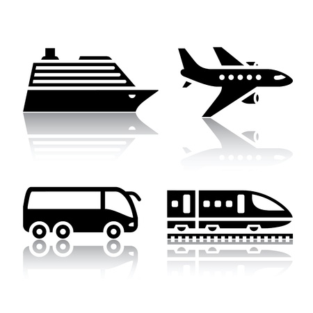 diesel train: Set of transport icons - tourist transport Illustration
