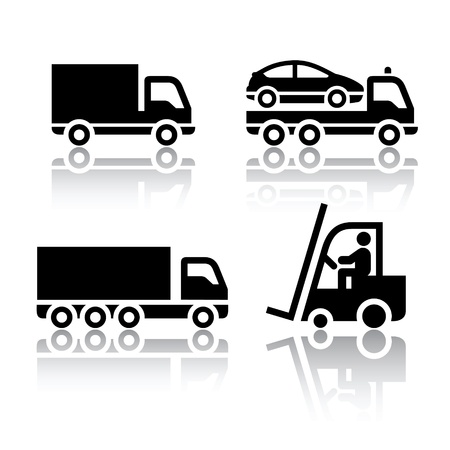 cargo truck: Set of transport icons - truck