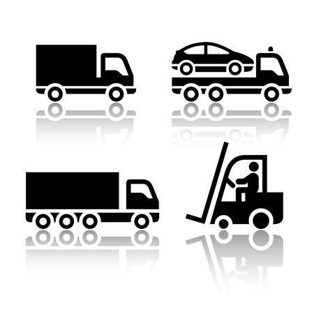 ciężarówka: Zestaw ikon transportu - samochód Ilustracja