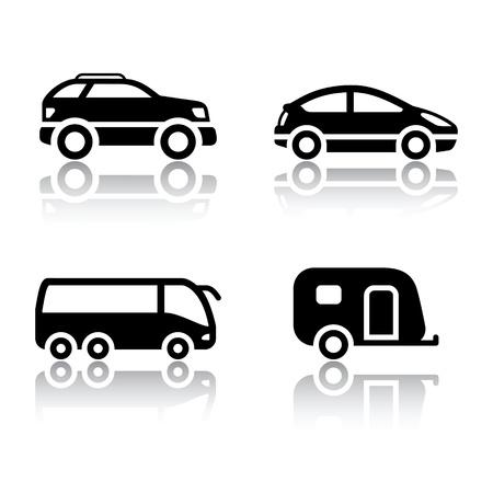 remolques: Conjunto de iconos de transporte - veh�culos