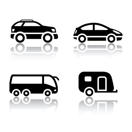 caravan: Set of transport icons - vehicles Illustration