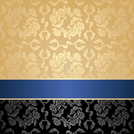Seamless pattern, floral decorative background, blue ribbon Vector