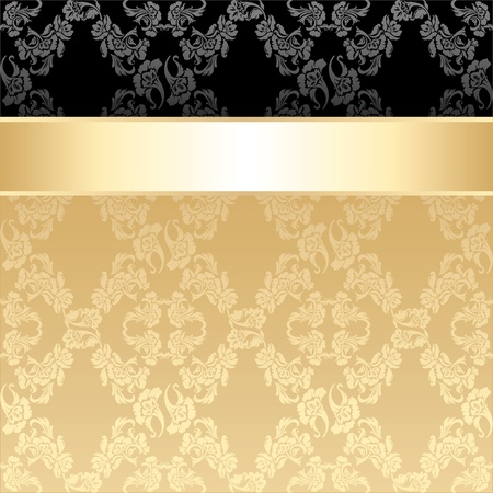 Seamless pattern, floral decorative background, gold ribbon Vector