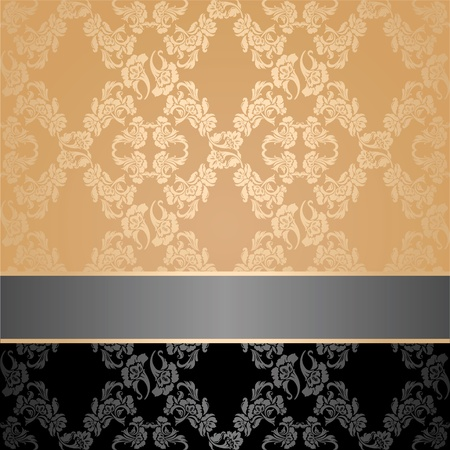 royal rich style: Seamless pattern, floral decorative background, gray ribbon