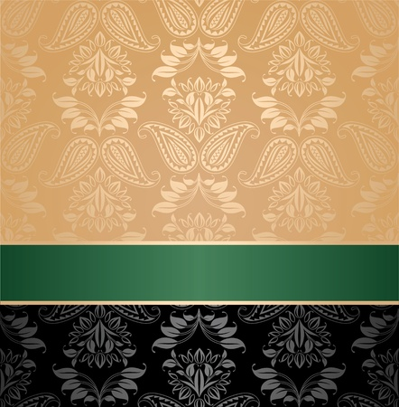 Seamless pattern, floral decorative background, green ribbon Vector