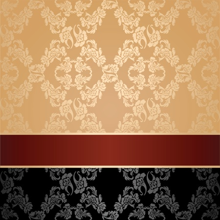 Seamless pattern, floral decorative background, maroon ribbon Vector