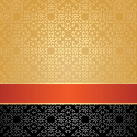 Seamless pattern, floral decorative background, orange ribbon Vector