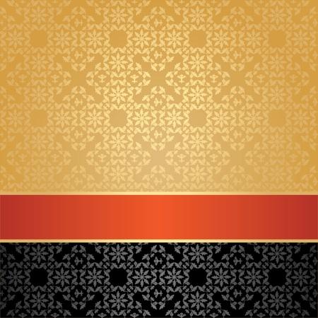 Seamless pattern, floral decorative background, orange ribbon Stock Vector - 12357548