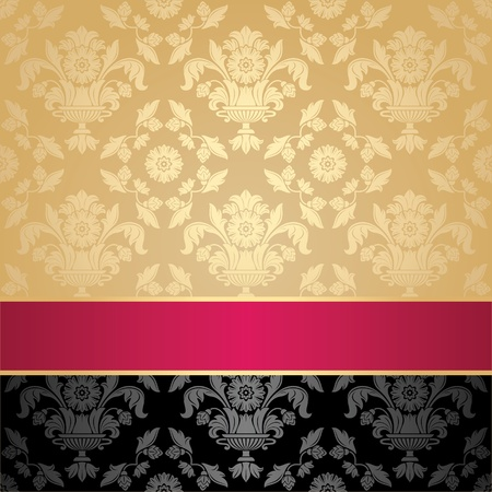 Seamless pattern, floral decorative background, pink ribbon Vector