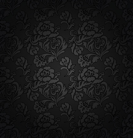 Corduroy dark gray background, ornamental flowers texture fabric Vector