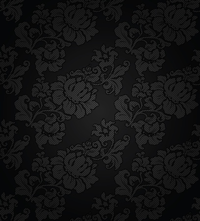 Corduroy dark  background, ornamental flowers texture fabric Vector