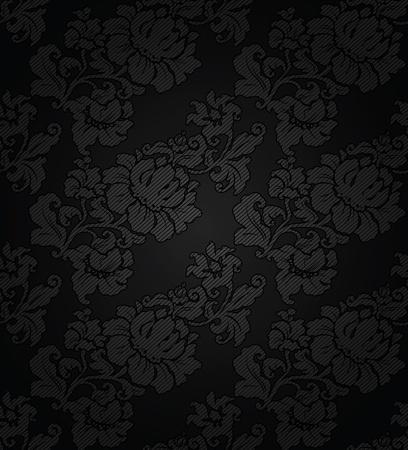 corduroy: Corduroy sfondo scuro, fiori ornamentali tessuto trama Vettoriali