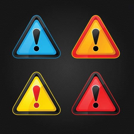 Set hazard warning attention sign on a metal surface Stock Vector - 12357556