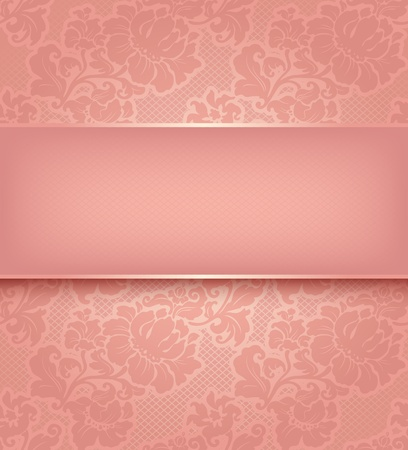 Lace background, ornamental pink flowers wallpaper  Vector