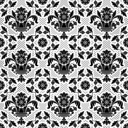 Lace background, black ornamental flowers Vector