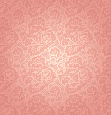 Lace background, ornamental pink flowers Vector