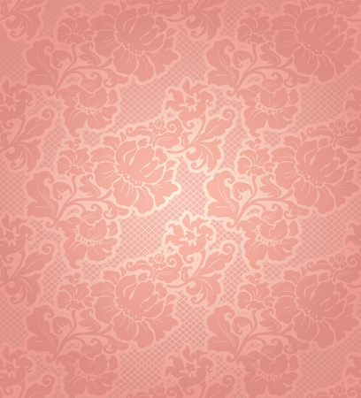 Lace background, ornamental beige flowers wallpaper Vector