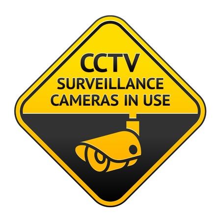 cctv: Pictograma circuito cerrado de televisi�n, s�mbolo de vigilancia por v�deo