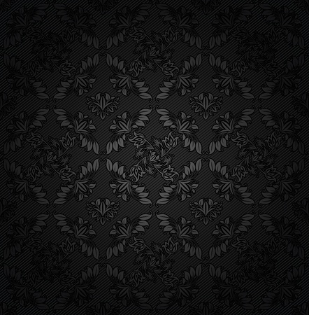 Corduroy texture dark background, ornamental fabric gray flowers Vector