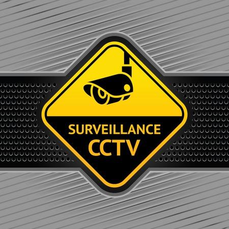 caution cctv: Cctv symbol on a background industrial template Illustration