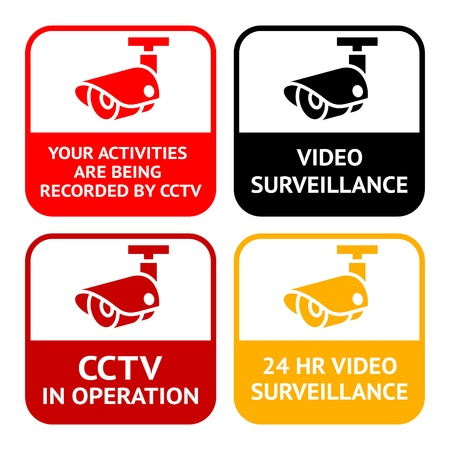 vigilante de seguridad: Pictograma circuito cerrado de televisi�n, video vigilancia, c�maras de seguridad en conjunto de s�mbolos