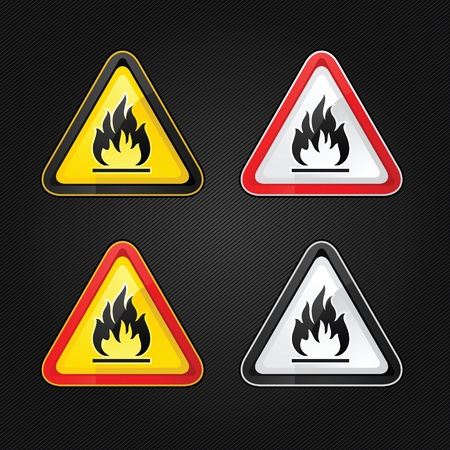 flammable warning: Hazard warning triangle highly flammable warning set sign