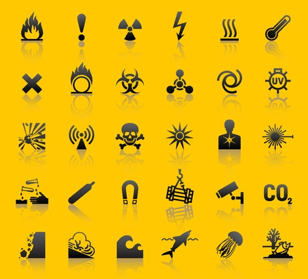 electricity danger of death: Set hazard warning symbols